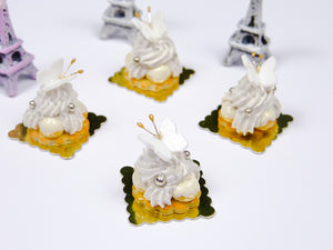 Vanilla St Honoré French Pastry with Butterfly Decoration - Miniature Food