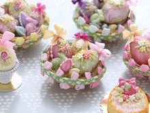 Load image into Gallery viewer, Beautiful Easter Basket Filled with Colourful Easter Eggs and Rabbit Candy (B) Miniature Food