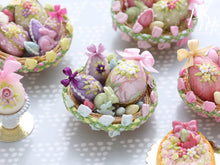 Load image into Gallery viewer, Beautiful Easter Basket Filled with Colourful Easter Eggs and Rabbit Candy (C) Miniature Food