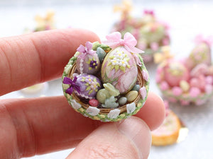 Beautiful Easter Basket Filled with Colourful Easter Eggs and Rabbit Candy (C) Miniature Food