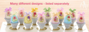 Pastel Candy Easter Egg Decorated with Single Rose, Blossoms, Silk Bow, in Shabby Chic Pot (E)