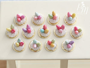 Three Handmade Miniature Meringue Nests with Colourful Candy Eggs