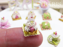 Load image into Gallery viewer, Easter St Honoré Pastry with White Rabbit and Candy Eggs - 12th Scale Miniature