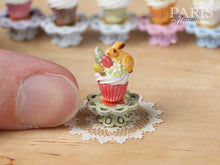 "Load image into Gallery viewer, Easter ""Showstopper"" Cupcake (N) - Cookie Bunny, Coloured Easter Eggs, Green Stand - Miniature Food"