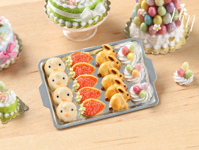 Easter Fun Iced Cookies and Meringue Nests on Metal Baking Tray - Miniature Food in 12th Scale