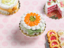 Load image into Gallery viewer, Cream Cake Decorated with Orange Segments and Chopped Pistachio - Miniature Food in 12th scale