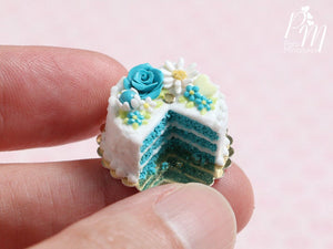 Velvet Layer Cake Decorated with Hand-sculpted Rose – Aqua/Turquoise - Miniature Food