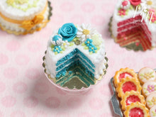 Load image into Gallery viewer, Velvet Layer Cake Decorated with Hand-sculpted Rose – Aqua/Turquoise - Miniature Food