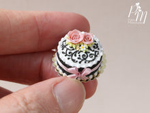 Load image into Gallery viewer, Miniature Black and White Cake Decorated with Pink Roses - Miniature Food