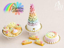 Load image into Gallery viewer, Rainbow Blossoms Cake - Pink - Miniature Food for Dollhouse 12th scale