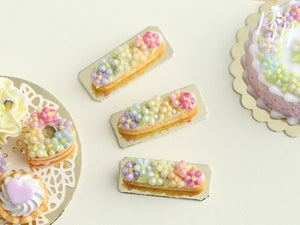 Rainbow Blossoms French Eclair - Miniature Food for Dollhouse 12th scale