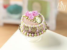 Load image into Gallery viewer, Milk Chocolate and Pink Cake Decorated with Pink Roses and hand-piped details - Miniature Food