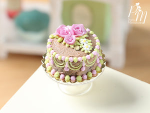Milk Chocolate and Pink Cake Decorated with Pink Roses and hand-piped details - Miniature Food
