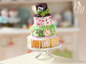 "Alice in Wonderland ""Mad Hatter"" Inspired Tower Cake - Miniature Food"