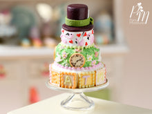 "Load image into Gallery viewer, Alice in Wonderland ""Mad Hatter"" Inspired Tower Cake - Miniature Food"