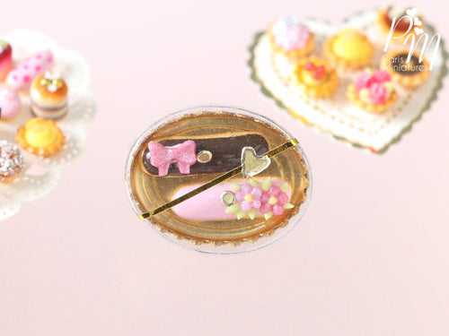 Gift Box of French Eclairs - Pink and Chocolate - Miniature Food for Dollhouse 12th scale 1:12