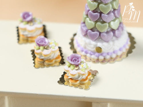 Cream-Filled Sablé with Purple Rose - Miniature Food in 12th scale