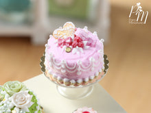 Load image into Gallery viewer, Beautiful Handmade Pink Cake with Raspberries, Heart Cookie, Macaron - Miniature Food