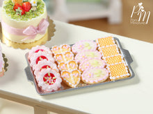 Load image into Gallery viewer, Pink Iced French Butter Cookies on Tray - Miniature Food for Dollhouse 12th scale