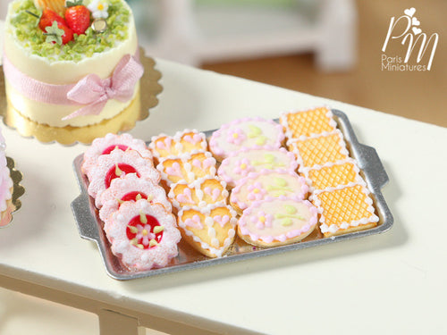 Presentation of French Butter Cookies with Pink Icing on Baking Tray - Miniature Food for Dollhouse 12th scale 1:12