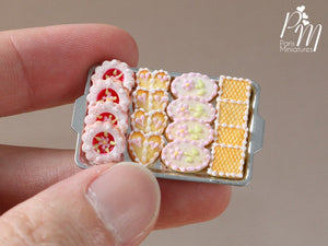 Pink Iced French Butter Cookies on Tray - Miniature Food for Dollhouse 12th scale