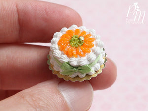 Cream Cake Decorated with Orange Segments and Chopped Pistachio - Miniature Food in 12th scale