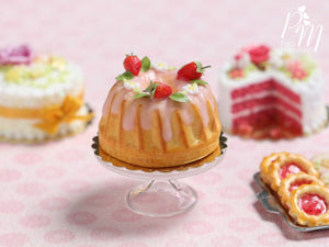 Pound Cake / Kouglof Decorated with Fresh Strawberries - Miniature Food for Dollhouse 12th scale