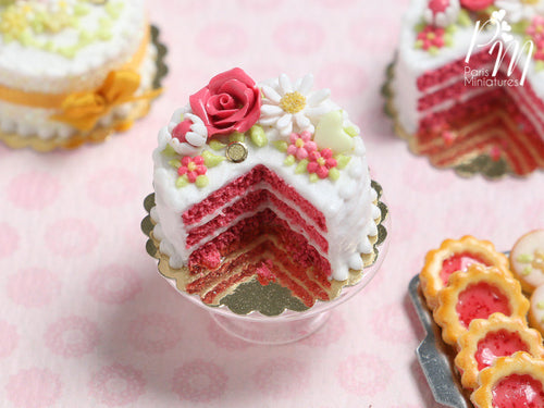 Velvet Layer Cake Decorated with Hand-sculpted Rose – Coral Pink - Miniature Food