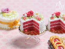 Load image into Gallery viewer, Velvet Layer Cake Decorated with Hand-sculpted Rose – Coral Pink - Miniature Food