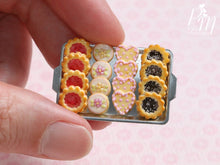 Load image into Gallery viewer, Assorted Butter Cookies on Metal Tray (Strawberry Jam, Blossoms, Hearts, Chocolate) Miniature Food