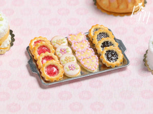 Assorted Butter Cookies on Metal Tray (Strawberry Jam, Blossoms, Hearts, Chocolate) Miniature Food