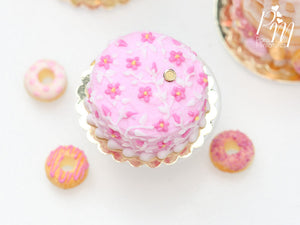 Light Pink Cake Decorated with Dark Pink Blossoms with Hand-Piped Stems - 12th Scale Miniature Food