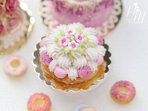 St Honoré Pastry with Pink Icing and Blossoms - 12th Scale Miniature Food