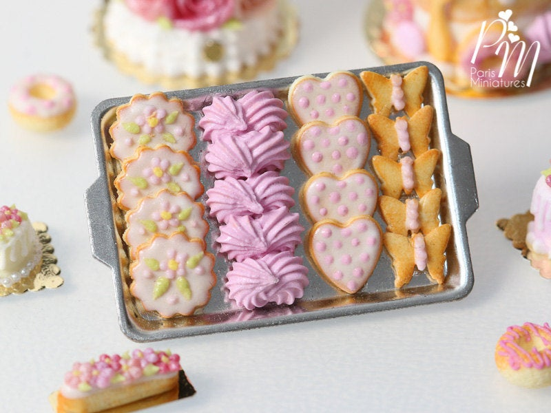 Pink-Themed Butter Cookies and Pink Meringues on Metal Baking Tray - 12th Scale Miniature Food