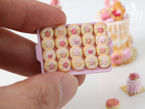 Pink Blossom and Butterfly Butter Cookies on Light Pink Baking Tray - 12th Scale Miniature Food