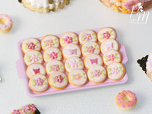 Load image into Gallery viewer, Pink Blossom and Butterfly Butter Cookies on Light Pink Baking Tray - 12th Scale Miniature Food