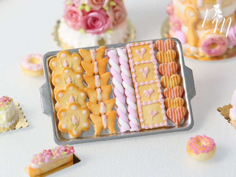 Pink-Themed Butter Cookies and Marshmallow Twists (Guimauve) on Metal Tray - Miniature Food