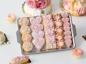 Pink-Themed Butter Cookies on Metal Baking Tray (Hearts, Gift Packets etc) - Miniature Food