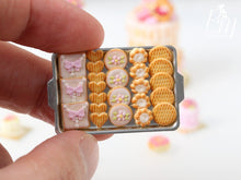 Load image into Gallery viewer, Pink Iced Butter Cookies and Plain Butter Cookies on Metal Baking Tray - 12th Scale Miniature Food