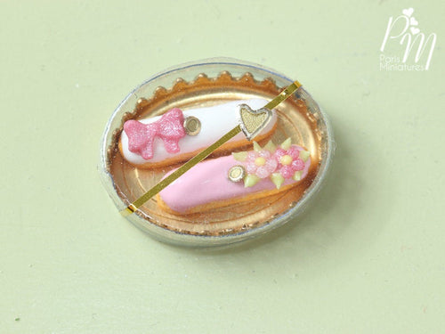 Pair of Beautiful Pink French Eclairs in Gift Box - 12th Scale Miniature Food