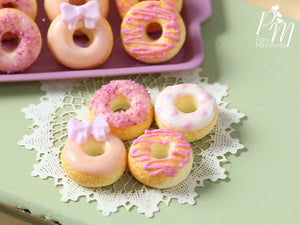 Four Loose Pink Iced Miniature Donuts - Miniature Food