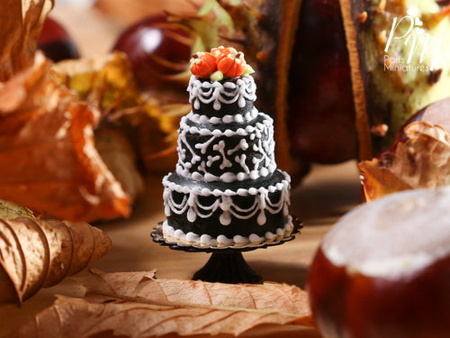 Bones Tower Cake - Black Three Tiered Cake Decorated for Autumn / Fall / Halloween - Miniature Food