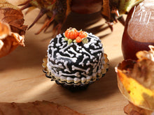 Load image into Gallery viewer, Bones Cake - Beautiful Black Cake Decorated for Autumn / Fall / Halloween - Miniature Food
