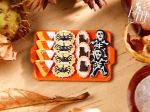 Miniature Halloween Cookies - Candy Corn, Spider, Cat, Skeleton on Tray