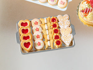 Presentation of Red-Themed Butter Cookies - Miniature Food in 12th Scale for Dollhouse
