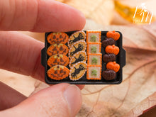 Load image into Gallery viewer, Miniature Food Halloween Cookies - Jack O'Lantern, Spiders, Frogs, Chocolate and Orange Pumpkins on Tray