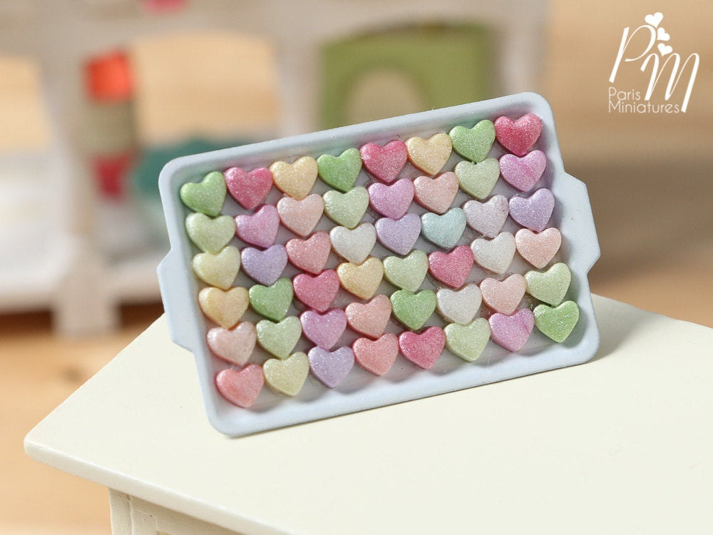Presentation of Colourful Candy Hearts on Metal Tray - Miniature Food