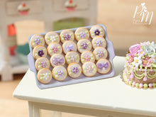 Load image into Gallery viewer, Presentation of Purple / Mauve / Lilac Cookies on Pink Baking Tray - Miniature Food for Dollhouse