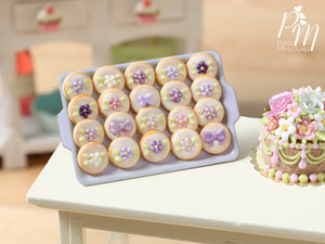 Presentation of Purple / Mauve / Lilac Cookies on Pink Baking Tray - Miniature Food for Dollhouse