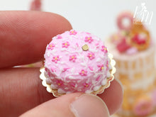 Load image into Gallery viewer, Light Pink Cake Decorated with Dark Pink Blossoms with Hand-Piped Stems - 12th Scale Miniature Food